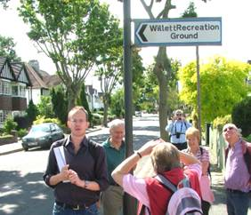 Walking the Willett Way -- Patched Willett Recreation Ground signpost, by Mike Dryland