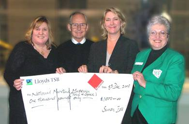 Flamsteed Society donation to the ROG Time & Space Universal Appeal.  L to R Lin Potter, Eddie Yeadon, Kristen Lippincott, Polly Larner (photo Mike Dryland)